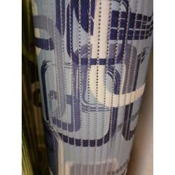 pěnová předložka do koupelny metráž 65cm šíře - modré čtverce a listy