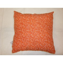 Povlečení na polštářek 45*45cm bavlna - bílé lístky na oranžovém