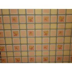 pěnová předložka do koupelny metráž 65cm šíře - šedooranžovožluté čtverce s listy