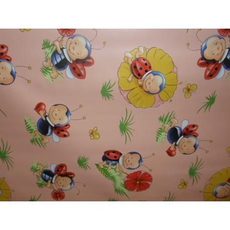 Ubrus metráž pogumovaná textilie 140cm šíře - dětský - beruška růžová
